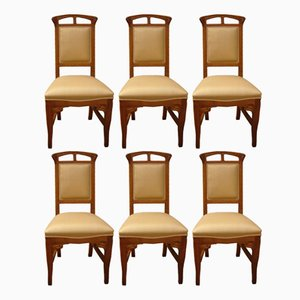 Vintage Art Nouveau-Style Wooden Chairs by Mobilificio Sello, Set of 6