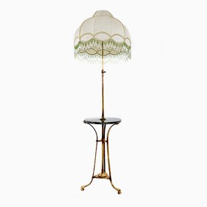 Bronze Telescopic Floor Lamp with Portoro Marble Tabletop, 1920s