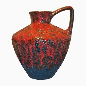 Vintage 401-40 Bodenvase mit Glasur in Schwarz & Rot von Heinz Martin für Jopeko Keramic