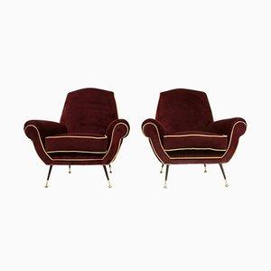Italienische Sessel aus Samt, 1950er, 2er et