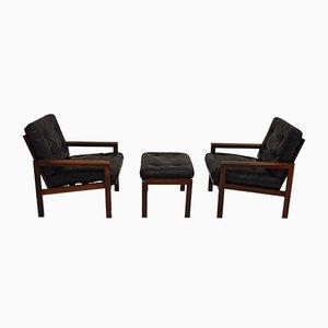 Vintage Sessel und Hocker aus Palisander von Illum Wikkelsø für Niels Eilersen