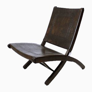 Hungarian Leather Folding Chair, 1970s