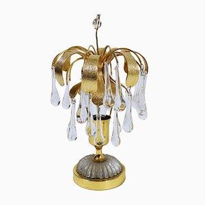 Lámpara de mesa alemana vintage de cristal