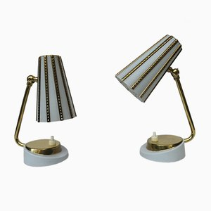 Italian Brass Bedside Lamps in Light Blue, 1950s, Set of 2