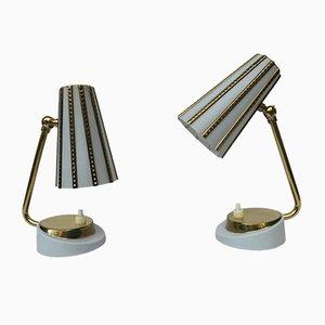 Lámparas de mesa de noche italianas de latón en azul claro, años 50. Juego de 2