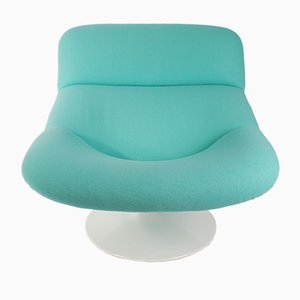 Vintage Aqua Blue F518 Lounge Swivel Chair by Geoffrey Harcourt for Artifort