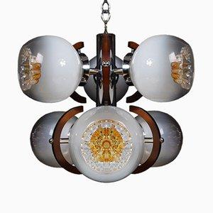 Lampada a sospensione vintage in vetro di Murano con 6 diffusori di Mazzega