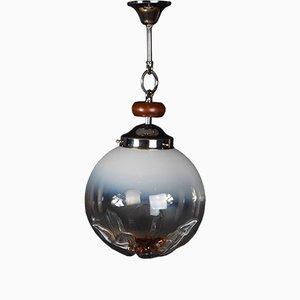Lampada a sospensione vintage in vetro di Murano di Mazzega