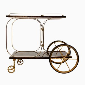 Italian Brass and Goatskin Trolley by Aldo Tura, 1970s