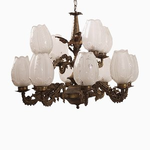 Vintage Brass Chandelier with 12 Glass Shades