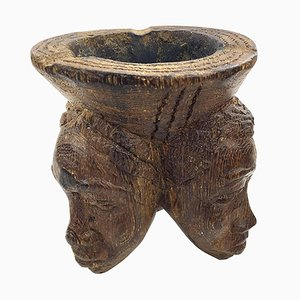 African Wooden Sculpture & Ashtray, 1960s