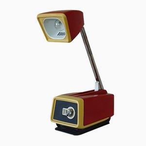 Lámpara de mesa telescópica en rojo y amarillo de Solis, años 60