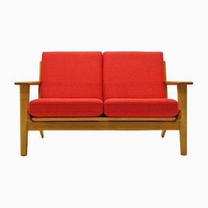 Sofá de 2 plazas vintage de roble y lana de Hans J. Wegner para Getama