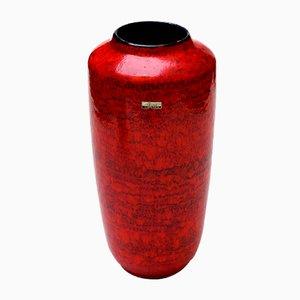 Rote Mid-Century Europ Linie Vase von Scheurich