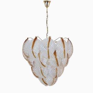 Lámpara de araña con hojas de cristal de Murano de Mazzega, años 70