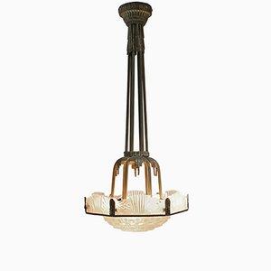 Lámpara colgante francesa Art Déco de Georges Leuleu, años 20