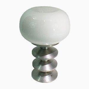 Lámpara de mesa grande de metal cepillado, años 70