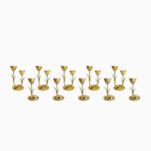 Skandinavische Vintage Messing Kerzenständer von Gunnar Ander für Ystad Metall Sweden, 10er Set