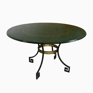 Mid-Century Steel and Brass Dining Table