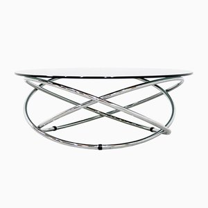 Italian Chrome & Smoked Glass Coffee Table, 1960s