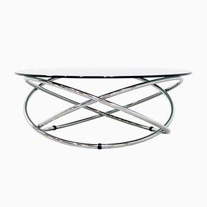 Mesa de centro italiana de metal cromado y vidrio ahumado, años 60