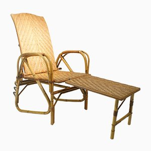 Adjustable Rattan and Bamboo Lounge Chair, 1940s