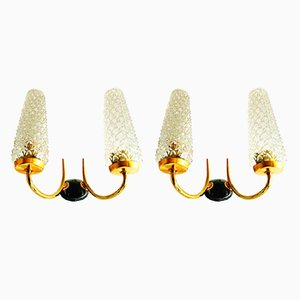 Ice Glass Sconces from Arlus, 1950s, Set of 2