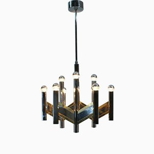 Italian Chrome and Brass Chandelier by Gaetano Sciolari, 1970s