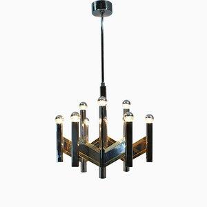 Lámpara de araña italiana de cromo y latón de Gaetano Sciolari, años 70