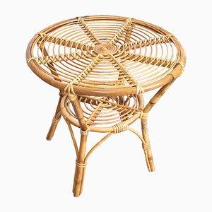Tavolino da caffè in bambù e vimini, anni '60