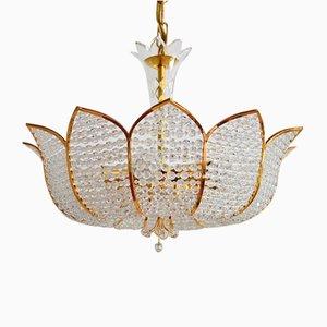 Lámpara de araña Regency de cristal bañado en oro de Palwa, años 70
