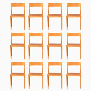 Portex Stacking Chairs by Peter Hvidt & Orla Mølgaard-Nielsen for Fritz Hansen, 1940s, Set of 12