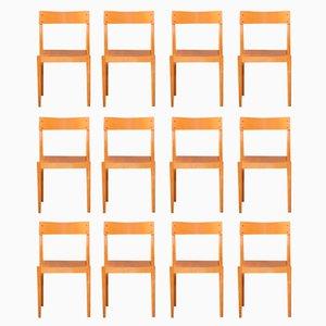Portex Stacking Chairs by Peter Hvidt & Orla Mølgaard-Nielsen for Fritz Hansen, 1940s, Set of 12