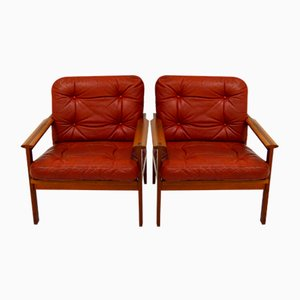Vintage Easychairs in Red Leather and Teak by Illum Wikkelso for Niels Eilersen