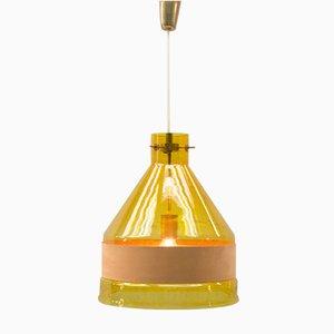 Lampada a sospensione vintage in vetro giallo con fascia in pelle di Kalmar