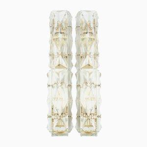 Lampade da parete tubolari in cristallo di Kinkeldey, anni '60, set di 2