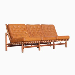 Cognac Three-Seater Sofa by Ilmari Tapiovaara for Paolo Arnaboldi, 1958