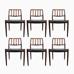 Chaises de Salon Modèle 83 par Niels O. Møller pour J.L. Møllers Møbelfabrik, 1974, Set de 6