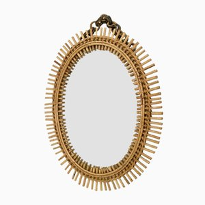 Italian Oval Wall Mirror, 1950s