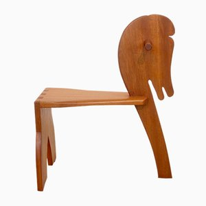 Small Mid-Century Scandinavian Style Teak Children's Horse Chair