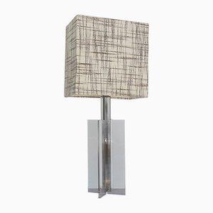 Lampada da tavolo grande in plexiglas trasparente, anni '70