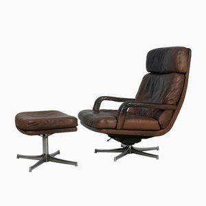 176N & 176H Lounge Chair with Ottoman by Bernd Münzebrock for Walter Knoll, 1970s