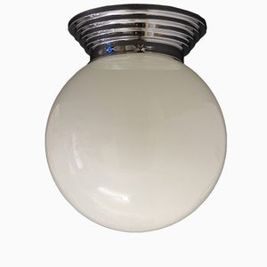 French Art Deco Metal & Opaline Glass Ceiling Lamp