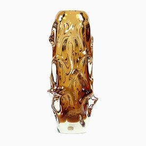 Vase Mid-Century en Verre Ambré par Jan Beranek pour Glass Factory Škrdlovice, 1959