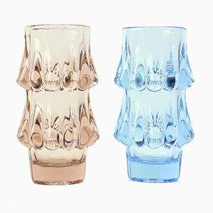 Jarrones vintage de vidrio rosa y azul de Jiri Brabec para Sklo Union Rosice, 1978. Juego de 2