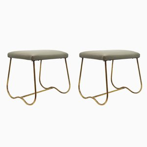 Brass & Skai Stools, 1950s, Set of 2
