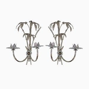 Chrome Palm Tree Sconces, 1970s, Set of 2