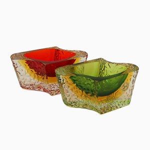 Cuencos vintage de cristal de Murano de Luigi Mandruzzato. Juego de 2