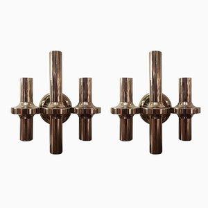 Applique vintage in metallo placcato in nichel di Nagel & Stoffi, set di 2