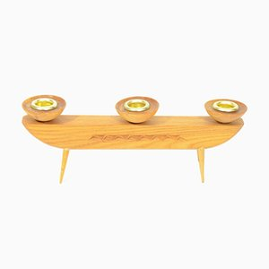 Vintage Czech Wooden Candle Holder from Krásná Jizba